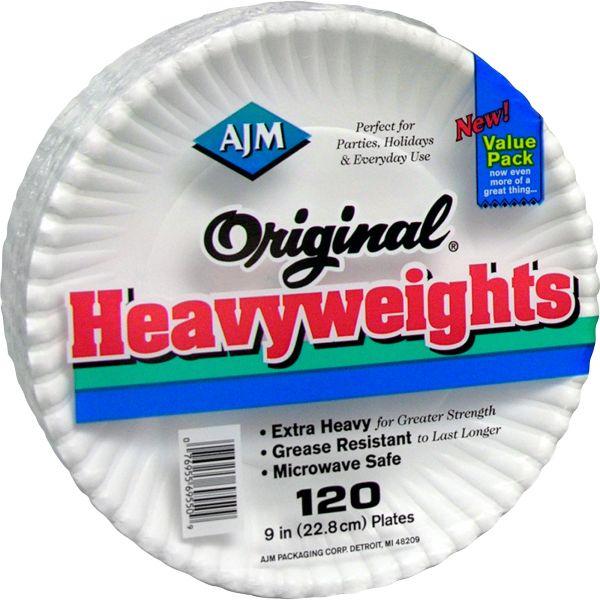 "AJM Original Heavyweights 9"" Coated Paper Plates"