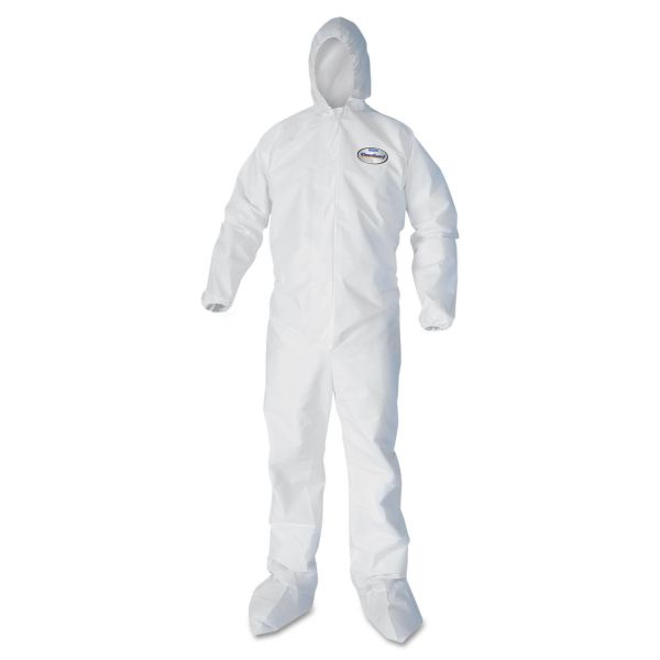 KleenGuard* A30 Elastic Back and Cuff Hooded/Boots Coveralls, White, 3XL,21/Ct