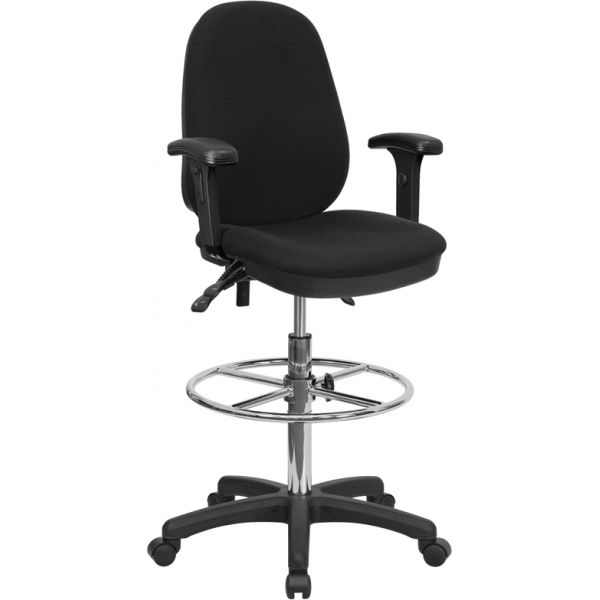 Flash Furniture Ergonomic Multi-Functional Triple Paddle Drafting Stool with Adjustable Foot Ring and Arms