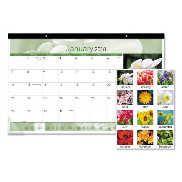 At-A-Glance Floral Images Monthly Desk Pad Calendar