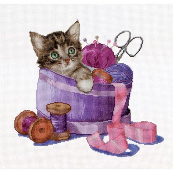 Sewing Basket Kitten On Aida Counted Cross Stitch Kit