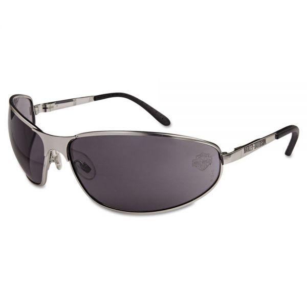 Harley-Davidson HD 500 Series Safety Glasses, Matte Silver Frame, Gray Hard Coat Lens