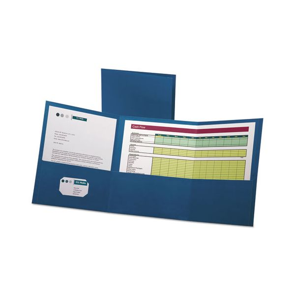 Oxford Tri-Fold Folder w/3 Pockets, Holds 150 Letter-Size Sheets, Blue