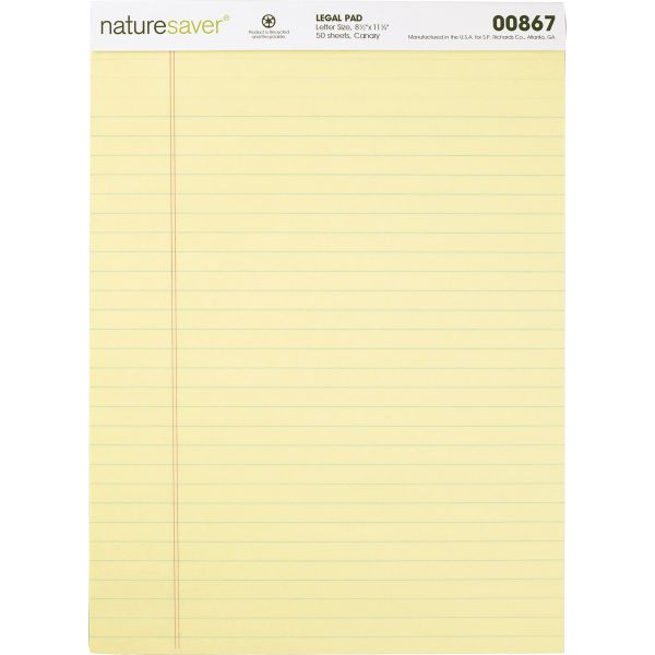 Nature Saver 100% Recycled Letter-Size Legal Pads