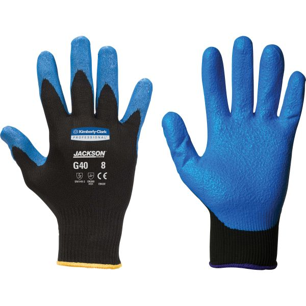 Jackson Safety* G40 Nitrile Coated Gloves, 220 mm Length, Small/Size 7, Blue, 12 Pairs