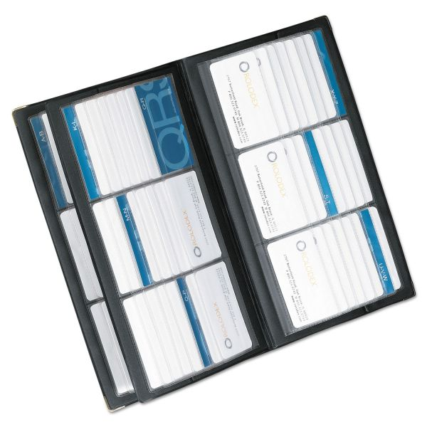 Rolodex Vinyl Business Card Book, Six 2-1/4 x 4 Cards per Page, 32 Pages, Black/Silver