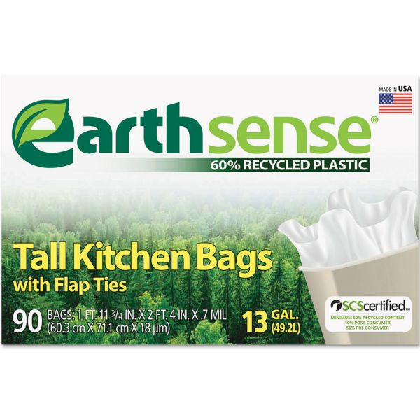 Earthsense Recycled Can Liners, 13gal, .7 Mil, 23 3/4 x 28, White, 90 Bags/Box