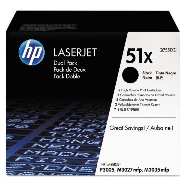 HP 51X Black High Yield Toner Cartridges (Q7551XD)
