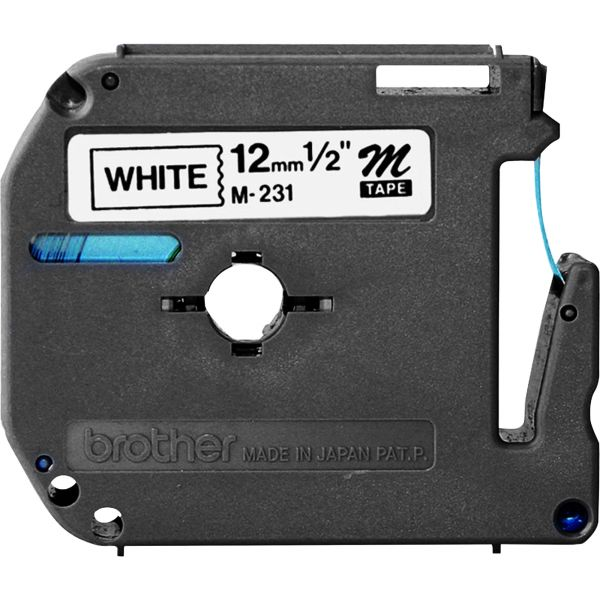 """Brother P-Touch M Series Tape Cartridge for P-Touch Labelers, 1/2""""w, Black on White"""