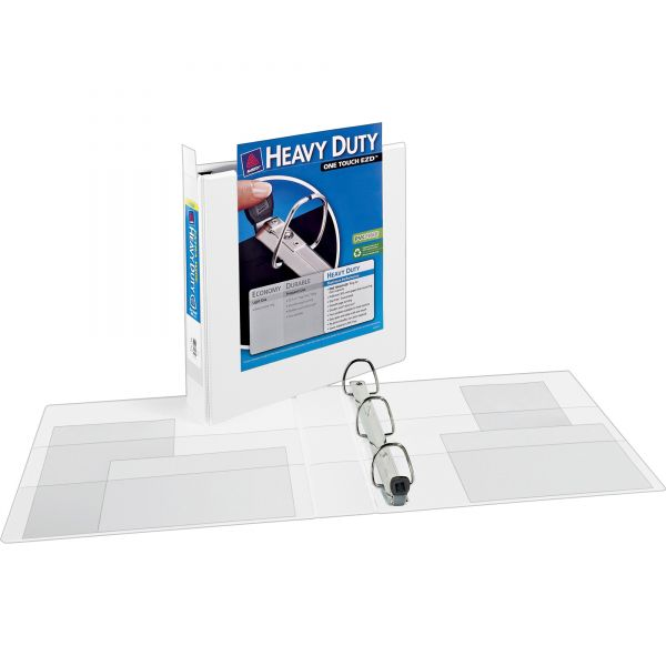 """Avery Heavy-Duty 3-Ring View Binder w/Locking 1-Touch EZD Rings, 1 1/2"""" Capacity, White"""