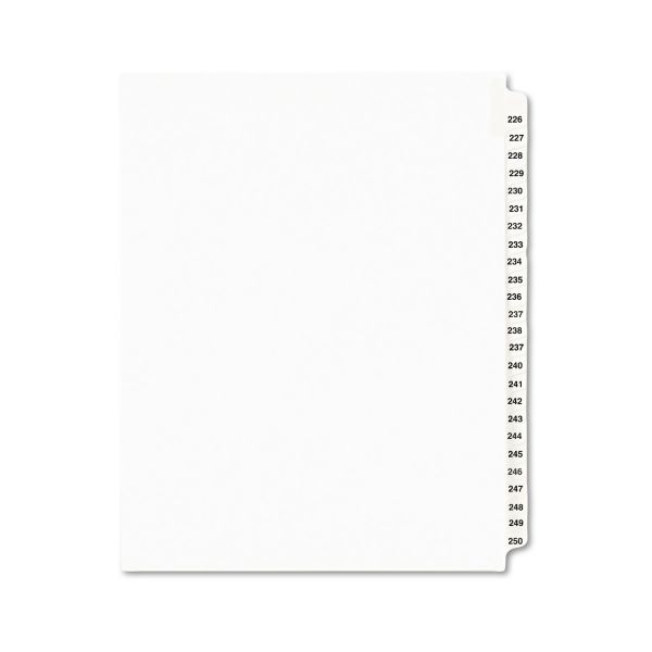 Avery-Style Legal Exhibit Side Tab Divider, Title: 226-250, Letter, White