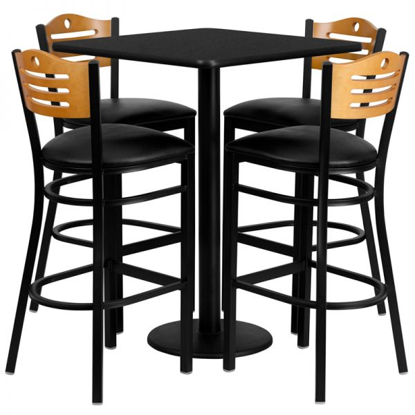 Flash Furniture 30'' Square Black Laminate Table Set with 4 Wood Slat Back Metal Barstools - Black Vinyl Seat