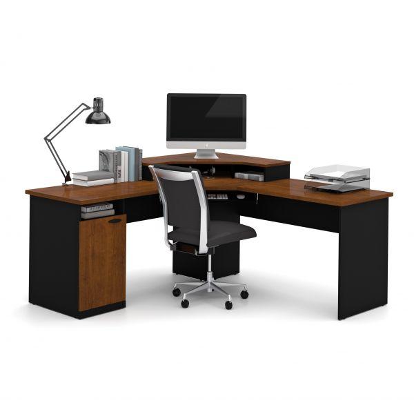 bestar hampton corner workstation in tuscany brown black rh officesupply com