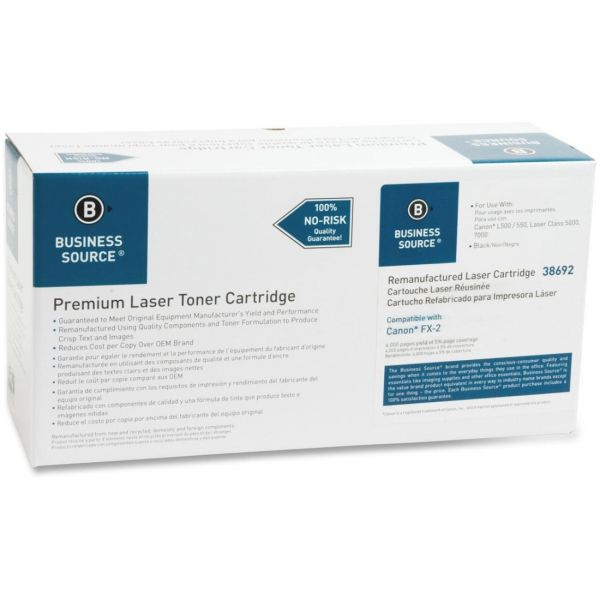 Business Source Remanufactured Canon FX-2 Black Toner Cartridge