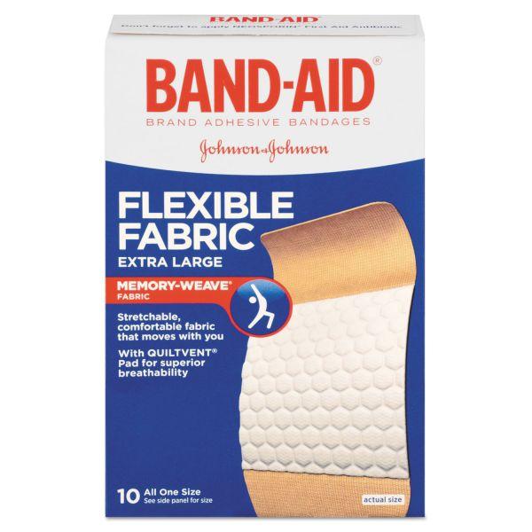 """BAND-AID Flexible Fabric Extra Large Adhesive Bandages, 1 1/4"""" x 4"""", 10/Box"""