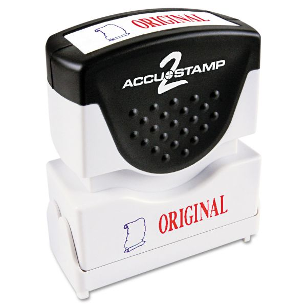 ACCUSTAMP2 Pre-Inked Shutter Stamp with Microban, Red/Blue, ORIGINAL, 1 5/8 x 1/2