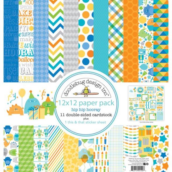 "Hip Hip Hooray Paper Pack 12""X12"""