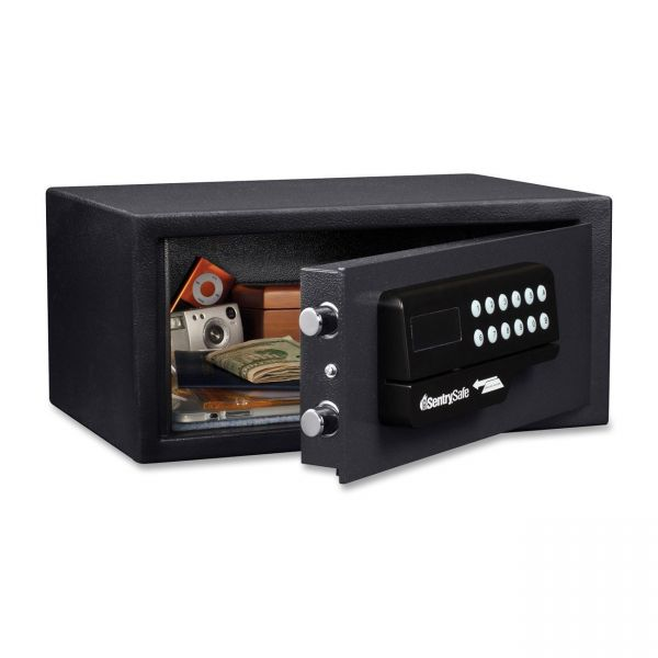 Sentry Safe Electronic Lock/Card Swipe Security Safe, 0.4 ft3, 15w x 11d x 7h, Black