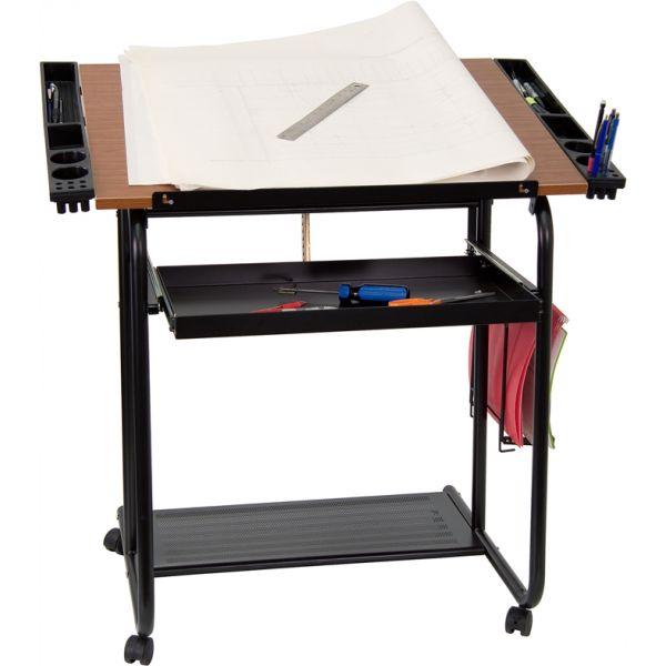 Flash Furniture Adjustable Drawing and Drafting Table with Black Frame and Dual Wheel Casters [NAN-JN-2739-GG]