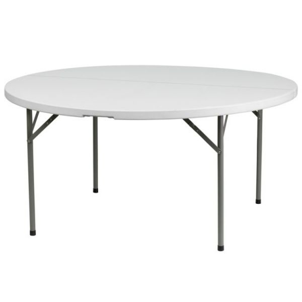 Flash Furniture 60'' Round Granite White Plastic Folding Table [DAD-YCZ-154-GW-GG]