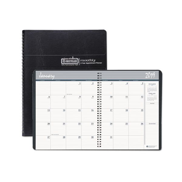 House of Doolittle Recycled 24-Month Ruled Monthly Planner, 8 1/2 x 11, Black, 2019-2020