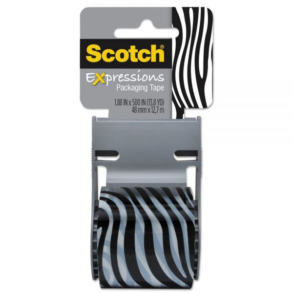 "Scotch Expressions Packaging Tape, 1.88"" x 500"", Black/White Zebra Pattern"