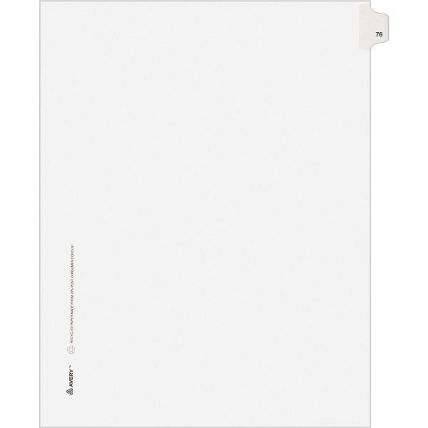 Avery-Style Legal Exhibit Side Tab Divider, Title: 76, Letter, White, 25/Pack