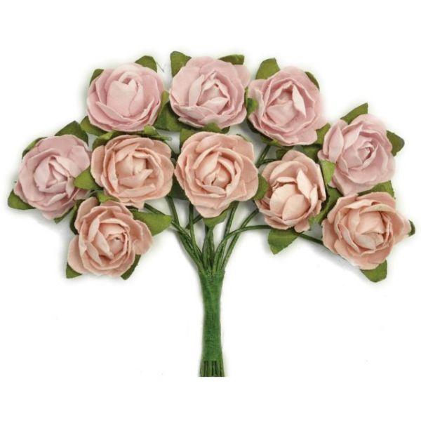 "Mini Paper Blooms .5"" Flowers W/Wire Stems 10/Pkg"