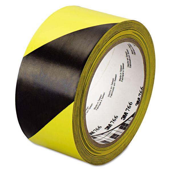 """3M 766 Hazard Warning Tape, Black/Yellow, 2"""" x 36yds"""
