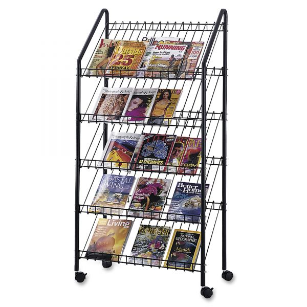 Safco Five-Shelf Welded Wire Mobile Literature Display Rack, Charcoal