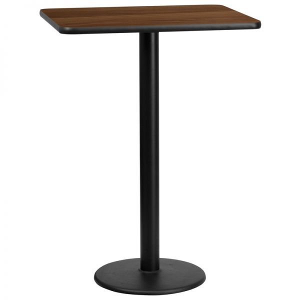 Flash Furniture 24'' x 30'' Rectangular Walnut Laminate Table Top with 18'' Round Bar Height Table Base