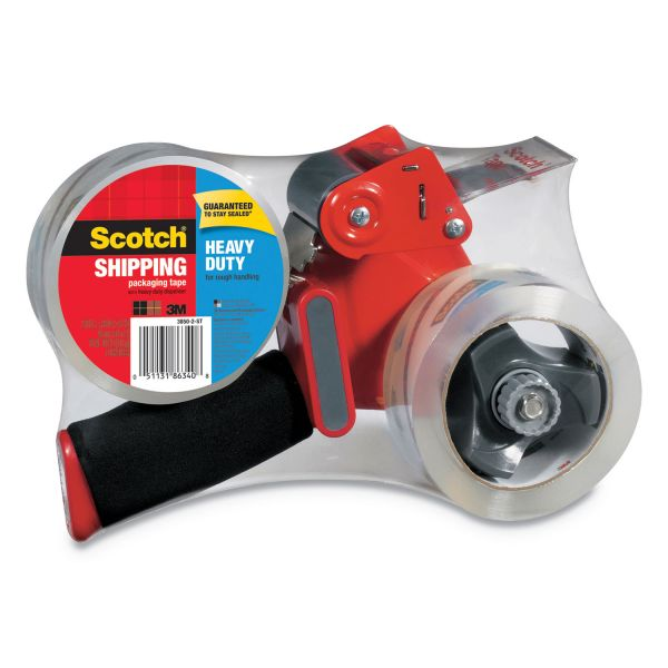 """Scotch Packaging Tape Dispenser with Two Rolls of Tape, 1.88"""" x 54.6yds"""