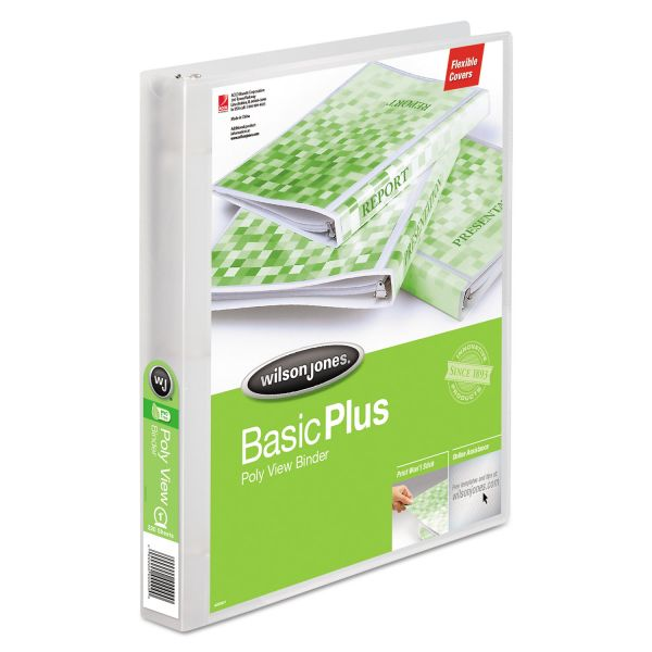 "Wilson Jones Basic Plus 1"" 3-Ring View Binder"