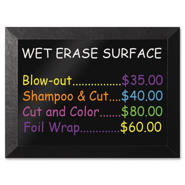 MasterVision Kamashi Wet-Erase Board, 36 x 24, Black Frame