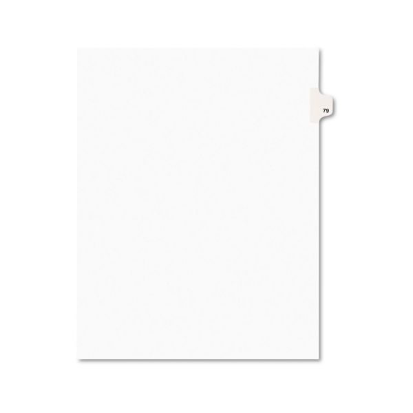 Avery-Style Legal Exhibit Side Tab Divider, Title: 79, Letter, White, 25/Pack