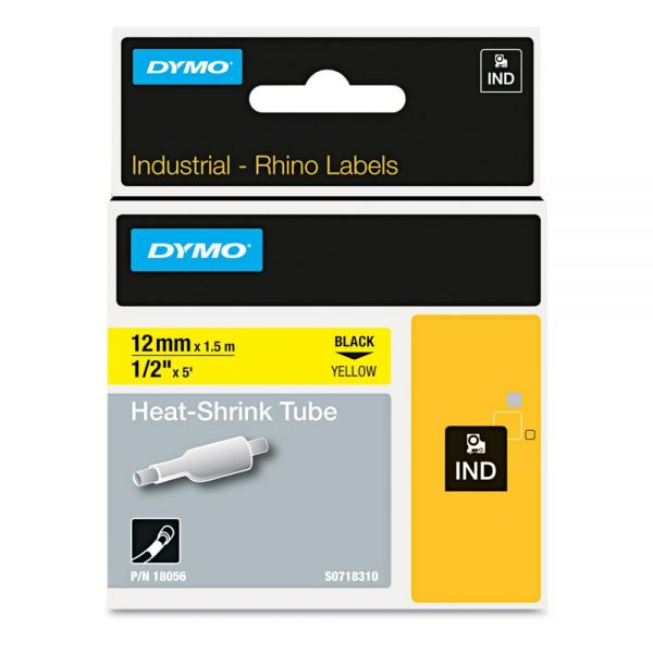 "DYMO Rhino Heat Shrink Tubes Industrial Label Tape, 1/2"" x 5 ft, White/Black Print"