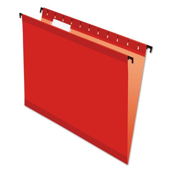 Pendaflex Poly Laminate Hanging Folders, Letter, 1/5 Tab, Red, 20/Box