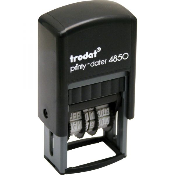 Trodat Self-Inking Message Dater, Four Bands, 3/4 x 1, Blue/Red