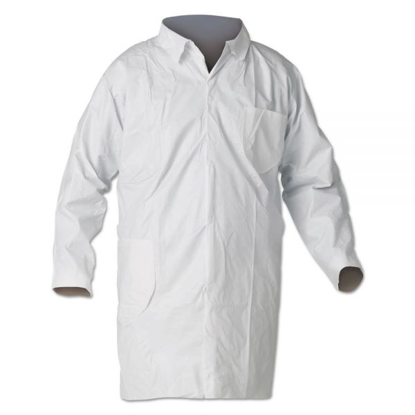 KleenGuard* A40 Liquid and Particle Protection Lab Coats, Medium, White, 30/Carton