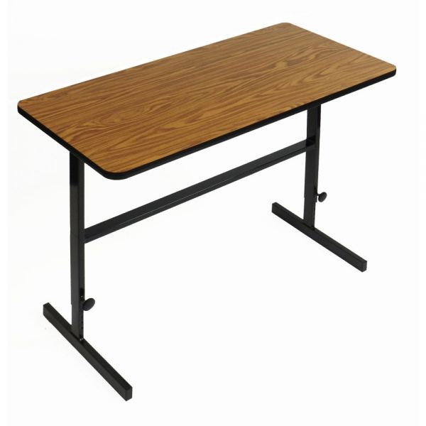 "Correll Adjustable Standing Height Workstation - 30"" x 60"" - Medium Oak"