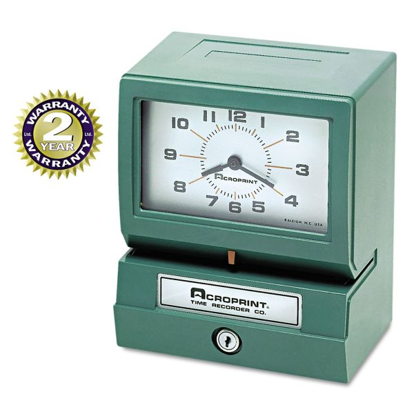 Acroprint Model 150 Analog Automatic Print Time Clock with Month/Date/1-12 Hours/Minutes