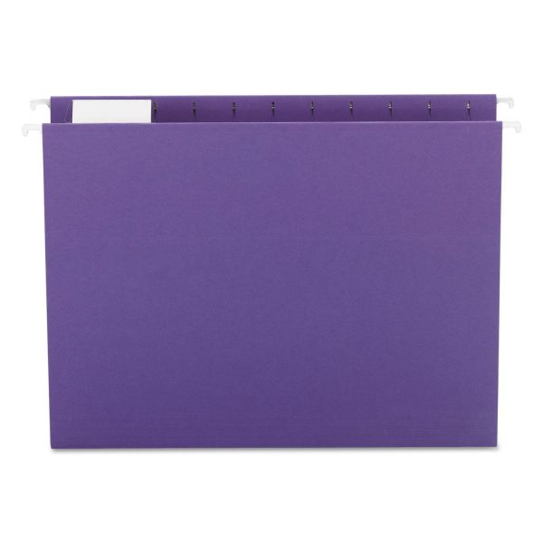 Smead Hanging File Folders, 1/5 Tab, 11 Point Stock, Letter, Purple, 25/Box