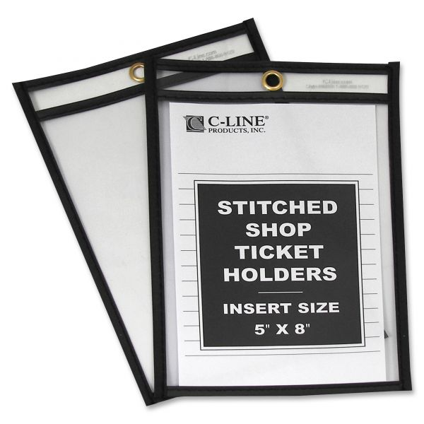 C-Line Shop Ticket Holders, Stitched, Both Sides Clear, 25 Sheets, 5 x 8, 25/BX