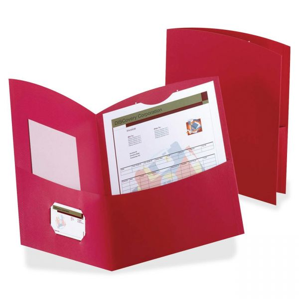 Oxford Contour Two-Pocket Folder, Recycled Paper, 100-Sheet Capacity, Red