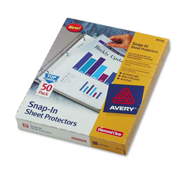 Avery Snap In Top Loading Sheet Protectors