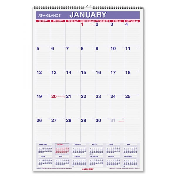 At-A-Glance Laminated Yearly Wall Calendar