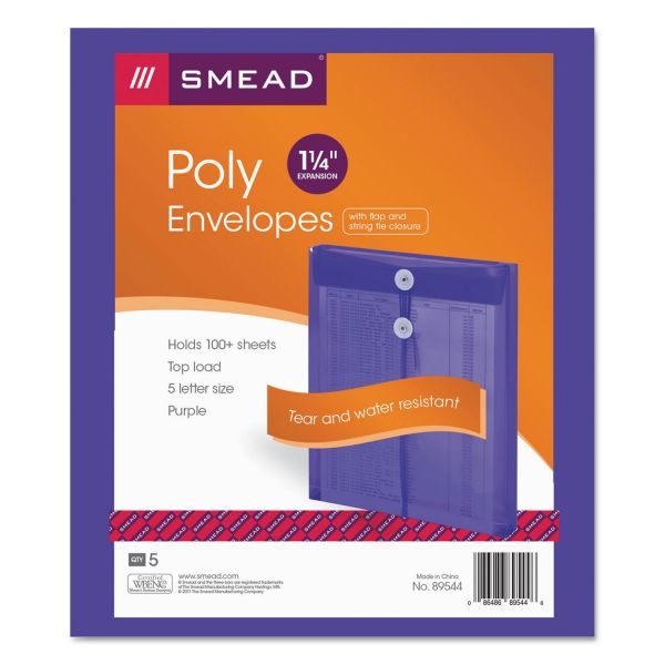 Smead 89544 Purple Poly Envelopes with String-Tie Closure