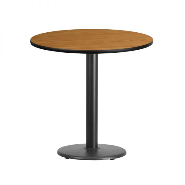 Flash Furniture 30'' Round Natural Laminate Table Top with 18'' Round Table Height Base