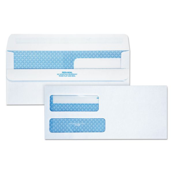Quality Park 2-Window Redi-Seal Security-Tinted Envelope, #9, 3 7/8 x 8 7/8, White, 250/CT