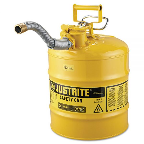 "JUSTRITE AccuFlow Safety Can, Type II, 5gal, Yellow, 1"" Hose"
